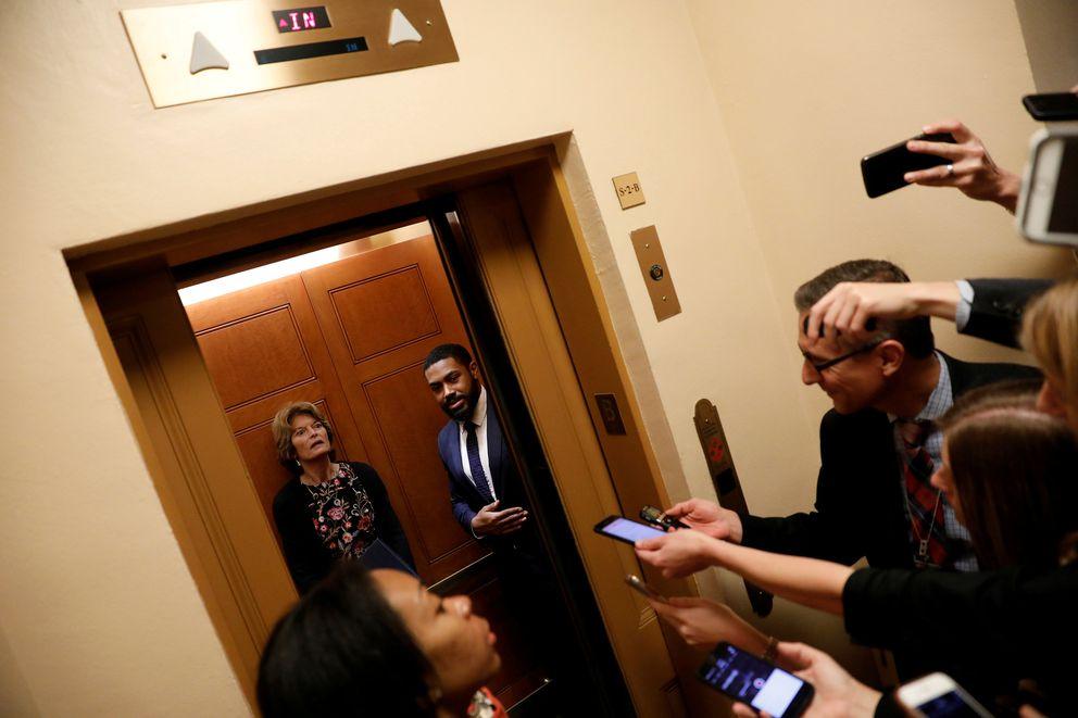 Sen. Lisa Murkowski speaks with reporters on Capitol Hill on Tuesday. (REUTERS/Aaron P. Bernstein)
