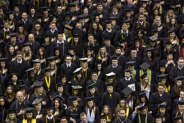 More than 1,300 graduating students fill the Alaska Airlines Center at the University of Alaska Anchorage's spring commencement ceremony Sunday, May 7, 2017. (Rugile Kaladyte / Alaska Dispatch News)