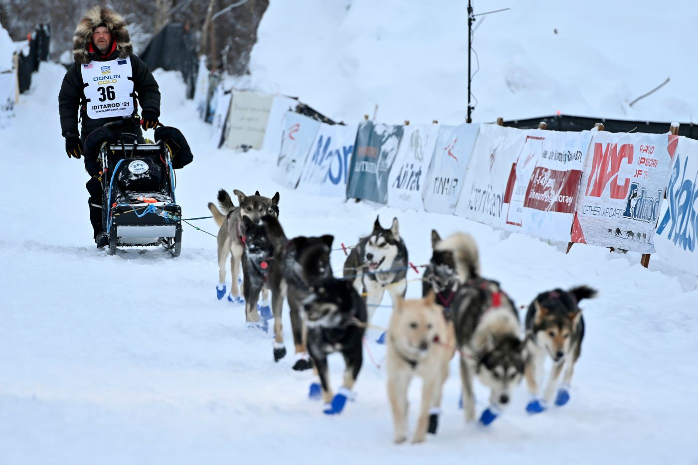 Aaron Burmeister of Nenana arrived in Willow to place second in the 2021 Iditarod. (Marc Lester / ADN)