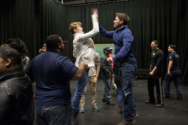 Markus Potter, of the NewYorkRep, leads students through exercises during a class in the Harper Studio in the Fine Arts Building on the University of Alaska Anchorage campus on Monday, Feb. 1, 2016.
