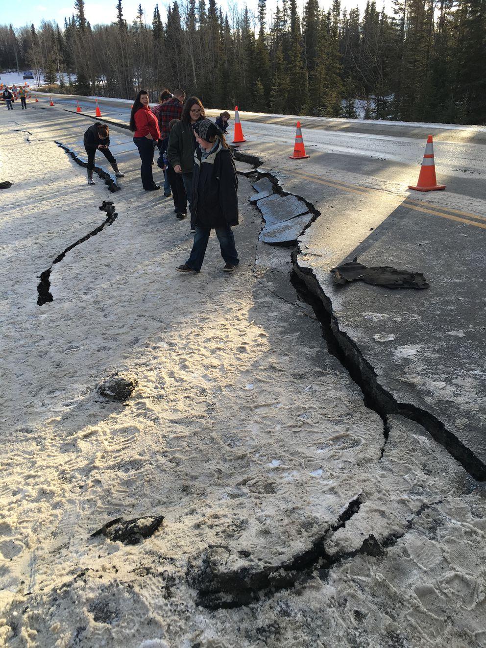 Kalifornsky Beach Road was heavily damaged near Kasilof after the magnitude-7.1 earthquake early Jan. 24, 2016. (Bob Hallinen / Alaska Dispatch News)