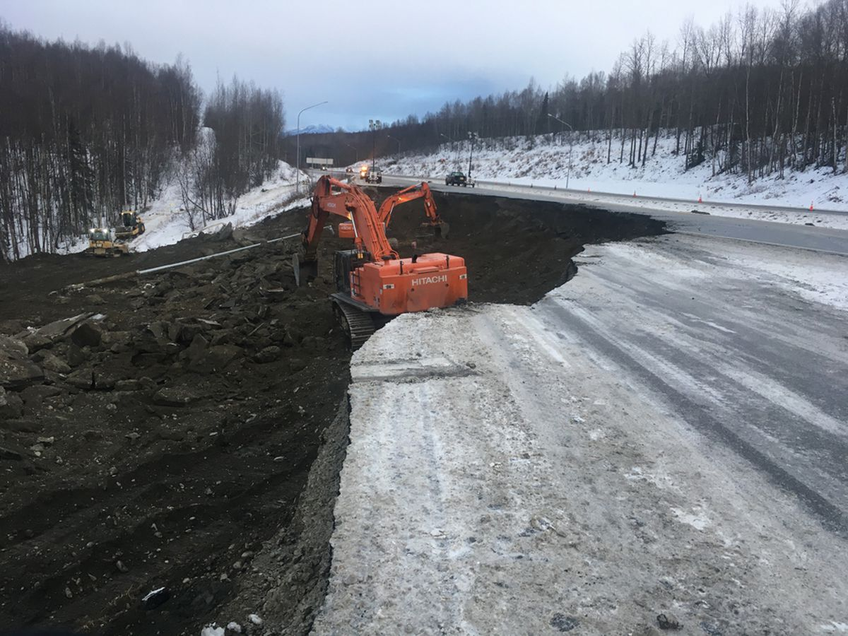 Construction crews work to repair damage to the Glenn Highway near Mirror Lake on Dec. 1. Alaska's congressional delegation doesn't expect any federal relief funding to be appropriated until the new Congress begins in January. (Photo/Courtesy/Alaska Department of Transportation and Public Facilities)