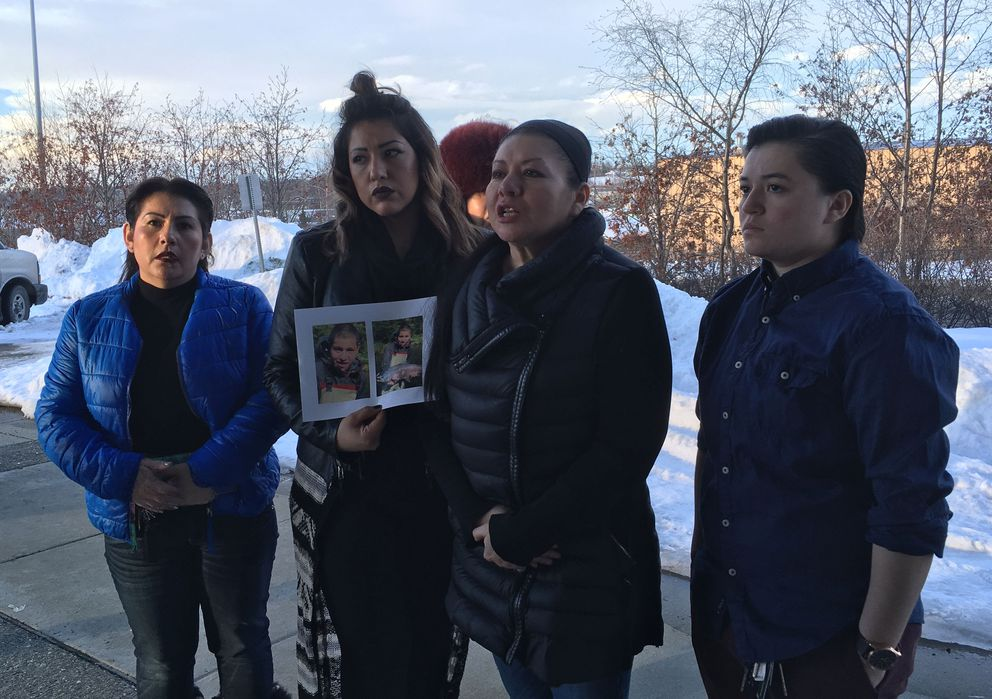 Jesus Oropeza's family outside the Anchorage Correctional Complex following a hearing for one of his alleged killers. From left to right, three of Oropeza's aunts — Felicia Smith, Christina Rhett and Lorena Hernandez — and cousin Angelica Hess. (Jerzy Shedlock / Alaska Dispatch News)