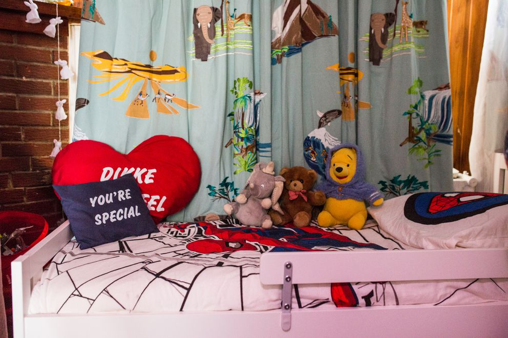 Fatiha decorated the bed of her grandson with 'Spider-Man ' sheets and teddy bears. Photo for The Washington Post by Virginie Nguyen Hoang)