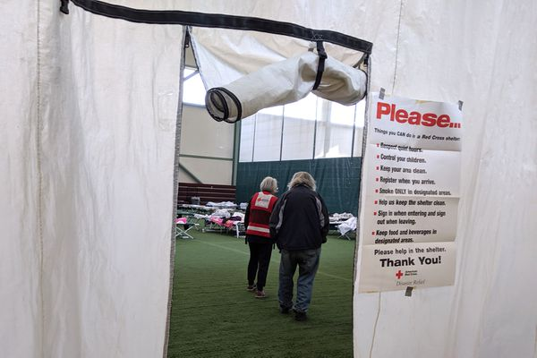 The Menard Sports Center in Wasilla is serving as a shelter for the McKinley fire, Aug. 19, 2019. (Michelle Theriault Boots / ADN)