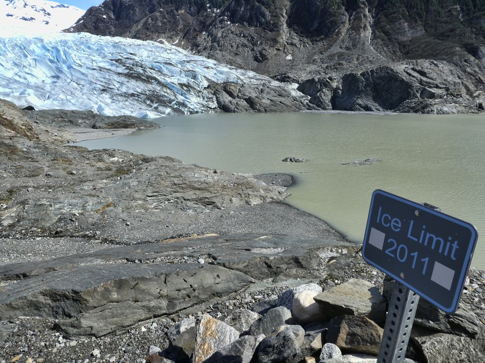 FILE - This May 9, 2020 file photo shows the Mendenhall Glacier in Juneau, Alaska. Since 2000, the glacier has lost 2.8 billion tons (2.5 billion metric tons) of snow and ice, with more than 1.7 billion tons (1.6 billion metric tons) since 2010. According to a study released on Wednesday, April 28, 2021 in the journal Nature, the world's 220,000 glaciers are melting faster now than in the 2000s. (AP Photo/Becky Bohrer)