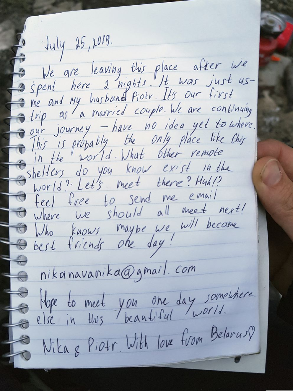 This undated photo provided by Piotr Markielau shows a handwritten note he and his wife Veranika Nikonova left in an abandoned bus in the Alaska wilderness before she died on July 25, 2019, following her struggle to cross the Teklanika River. Markielau said he frantically tried but failed to save his wife as she struggled to cross the river near a bus in the Alaska wilderness made famous by the movie 'Into the Wild. ' (Piotr Markielau via AP)