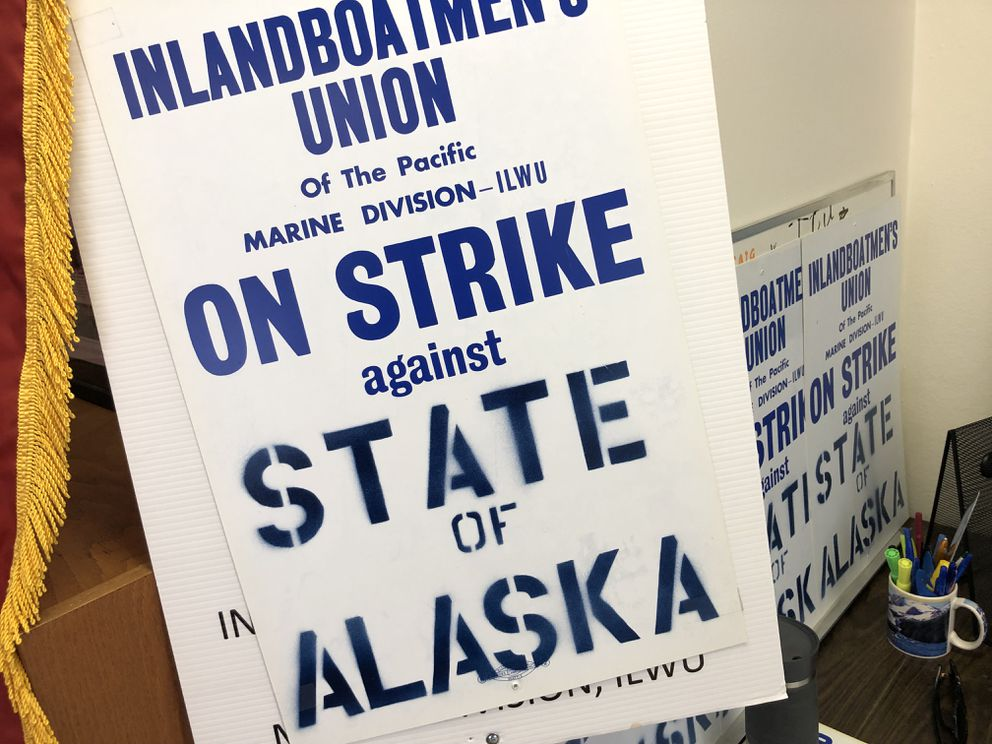 Strike posters are seen in the Juneau office of the Inlandboatmen's Union on Wednesday morning, July 24, 2019. (James Brooks / ADN)