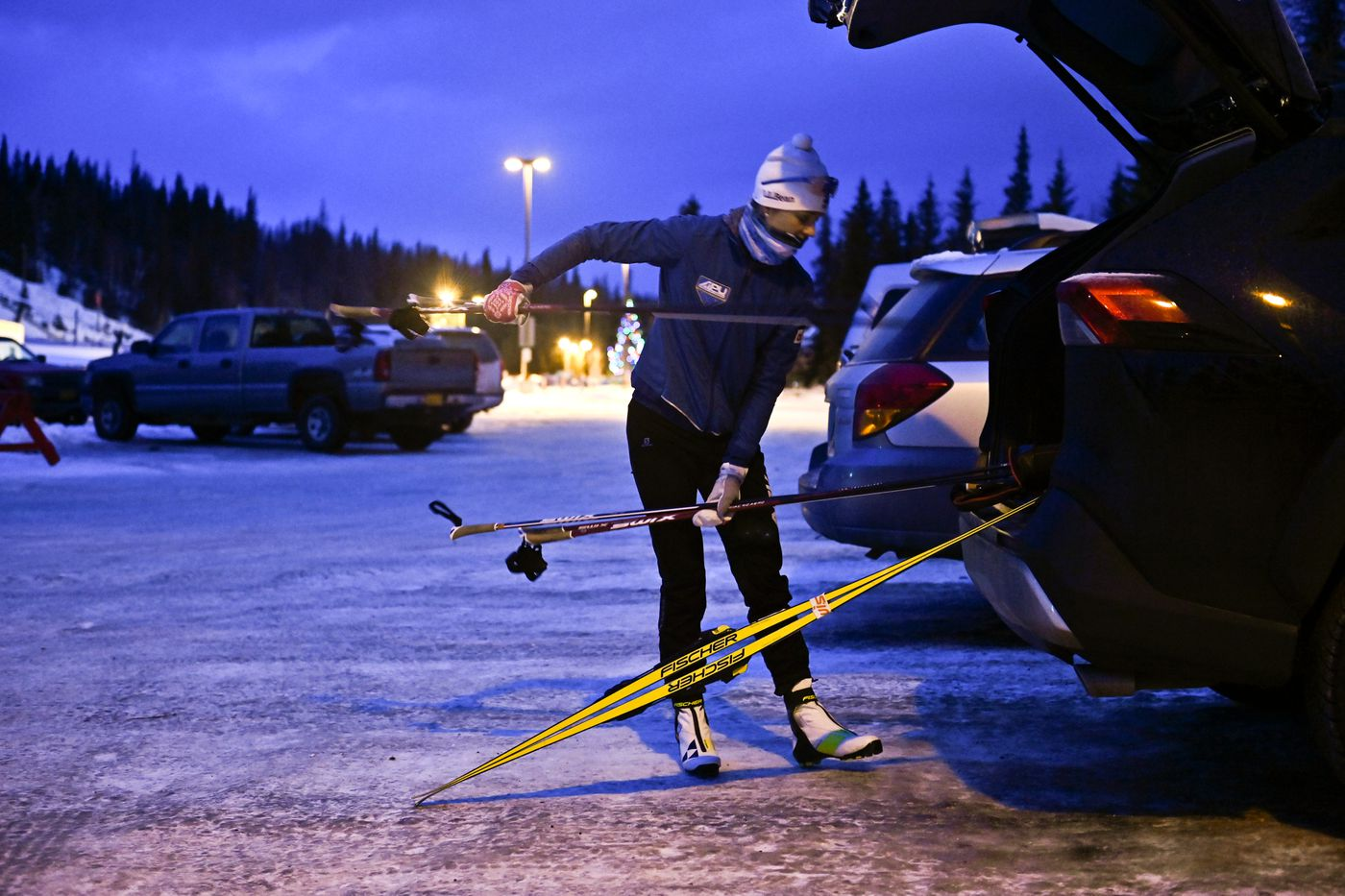 Sadie Maubet Bjornsen arrives at a training session at the Hillside Ski Trails in Anchorage. (Marc Lester / ADN)
