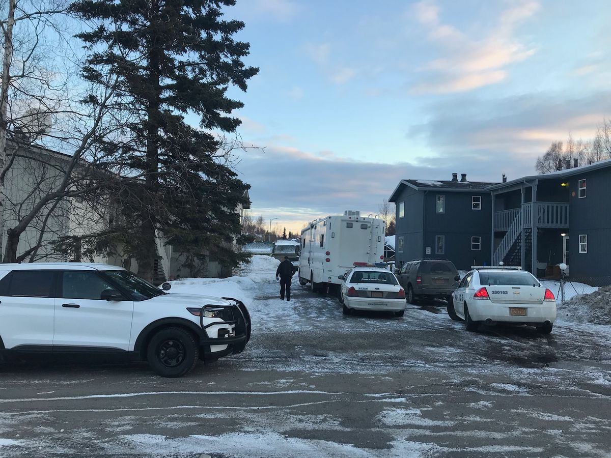 Anchorage police were investigating a homicide on the 1700 block of East 59th Avenue early Monday, April 5, 2021. (Tess Williams / ADN)