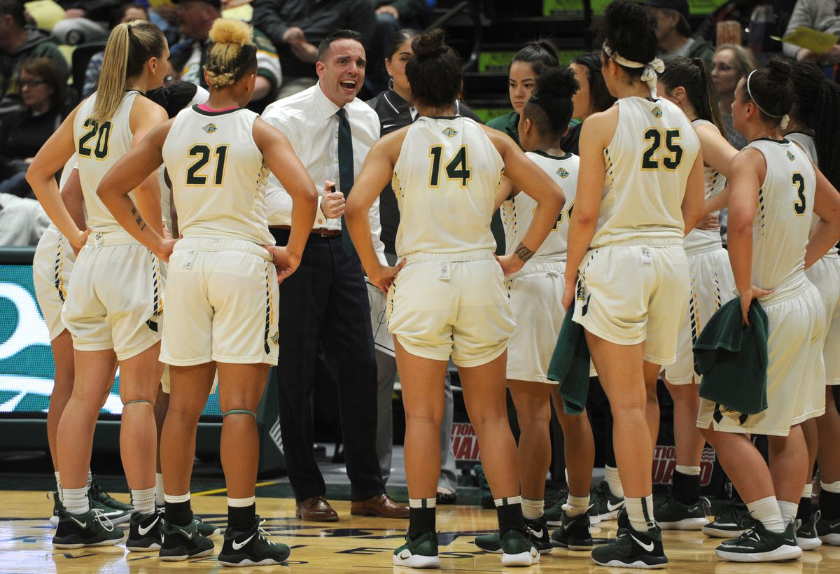 Ryan McCarthy, shown here talking to his team during a game earlier this month, tied the school record for most wins by a UAA women's basketball coach on Thursday. (Bill Roth / ADN)