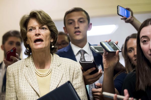Sen. Lisa Murkowski answers questions from journalists while rushing to votes concerning the Republican version of the health care bill on Capitol Hill on Thursday, July 27, 2017. (Melina Mara / The Washington Post)