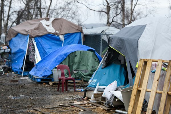 A homeless camp near 3rd Avenue and Ingra Street in downtown Anchorage on April 17, 2020. (Marc Lester / ADN)