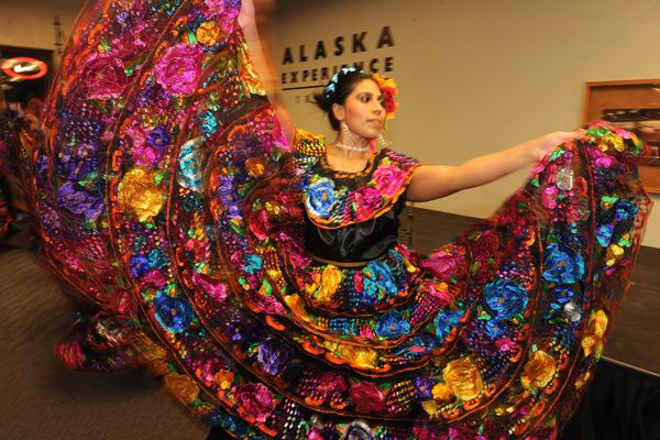 Guadalupe Mendoza performs with Xochiquetzal Tiqun during the Dia de Muertos (Day of the Dead) celebration at Out North Contemporary Art House on 4th Avenue in Anchorage, AK on Friday, Nov. 2, 2018. The celebration featured Mexican food, face painting, and altars set up by various groups and dance performances. Dia de Muertos (Day of the Dead) is a Mexican holiday where prayers and remembrance of friends and family members who have died are held. (Bob Hallinen / ADN)