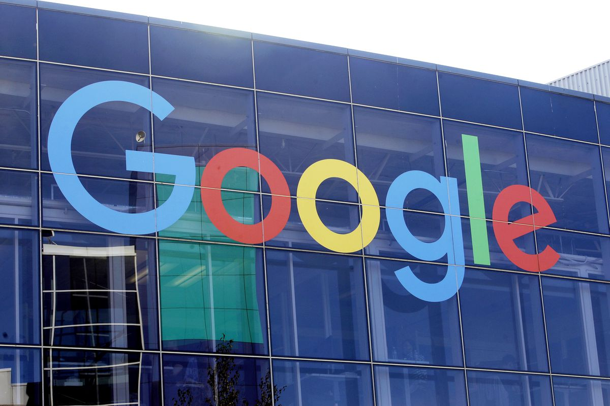 FILE - In this Sept. 24, 2019, file photo a sign is shown on a Google building at their campus in Mountain View, Calif. (AP Photo/Jeff Chiu, File)