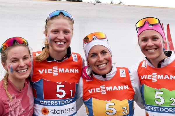 Jessie Diggins, Hailey Swirbul, Rosie Brennan and Sadie Maubet Bjornsen from the U.S. Ski Team skied to a fourth-place finish in the women's 4x5-kilometer relay Thurs. March 4, 2021. (Photo courtesy U.S. Ski & Snowboard)