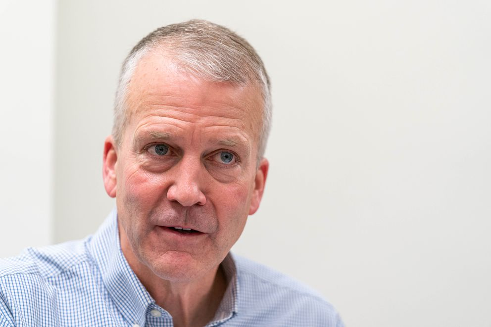 Sen. Dan Sullivan, R-Alaska, speaks with reporters at the Anchorage Daily News office on Friday, Dec. 6, 2019. (Loren Holmes / ADN archive)