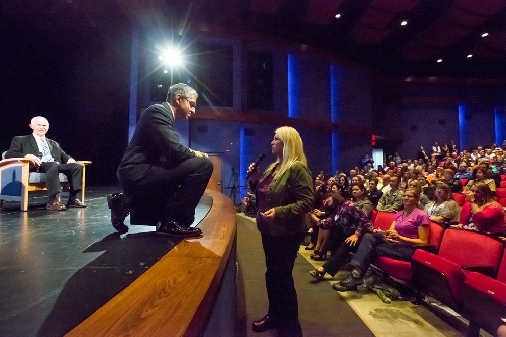 U.S. Surgeon General Vivek Murthy listens to a comment from Kim Whitaker, the mother of a heroin addict, during the Wellness Summit at the Glenn Massay Theater in the Mat-Su on Aug. 4, 2016. (Loren Holmes / Alaska Dispatch News)