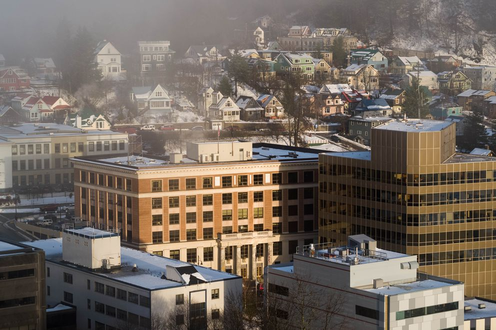 The Alaska State Capitol, photographed on Tuesday, Jan. 15, 2019 in Juneau. The Dimond Courthouse is located across the street from the Capitol. (Loren Holmes / ADN archive)