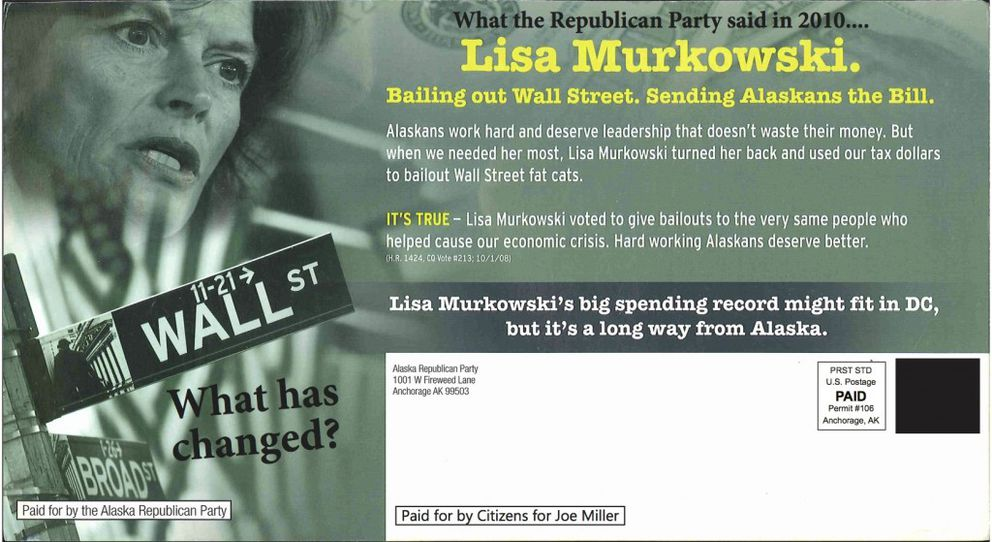 Libertarian U.S. Senate candidate Joe Miller resurrected this 2010 flier created by the Alaska Republican Party when he was the GOP candidate and U.S. Sen. Lisa Murkowski, now the Republican nominee, was running an independent write-in campaign.