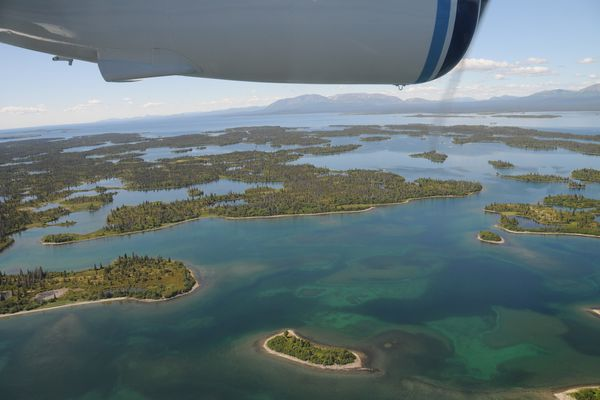 Lake Iliamna from the air in summer. (Dave Withrow / NOAA Fisheries)