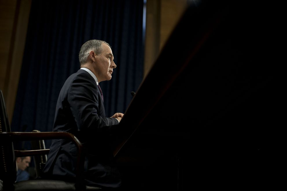 Scott Pruitt, President Donald Trump's nominee to lead the Environmental Protection Agency, during a confirmation hearing with the Senate Environmental and Public Works committee in Washington on Jan. 18. (Gabriella Demczuk/The New York Times file)