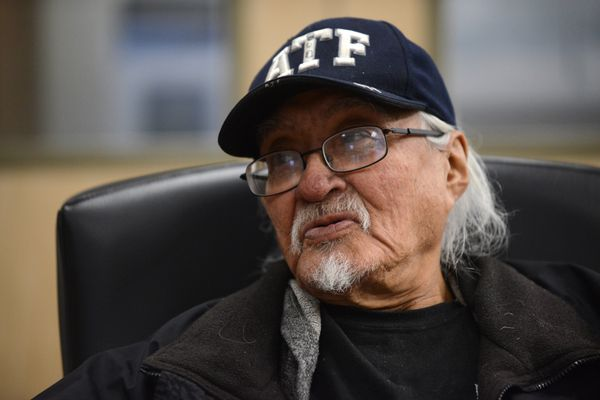 Walter Coppock talks about his life. Coppock was homeless for years but now lives at a RurALCap building for the chronically homeless. (Bob Hallinen / Alaska Dispatch News)