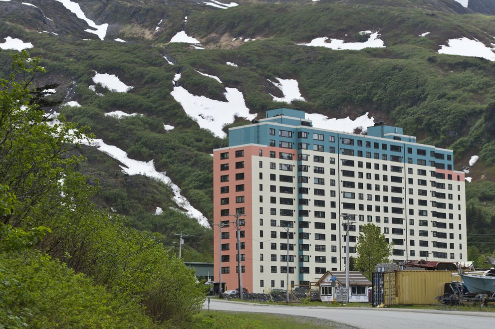 Begich Towers in Whittier on June 4, 2020. (Marc Lester / ADN)
