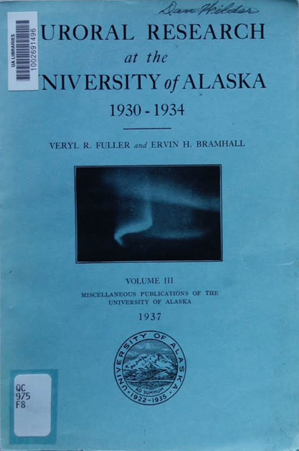 The first scientific study at the University of Alaska, to determine the height of the aurora over Fairbanks. (Courtesy Ned Rozell)