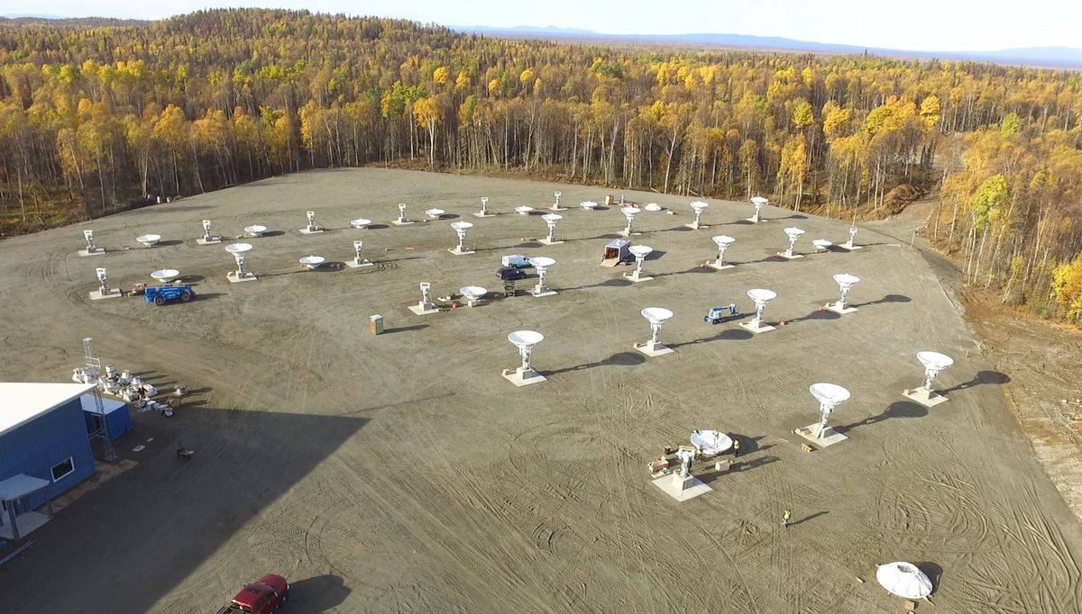 Pacific Dataport's broadband satellite gateway facility near Talkeetna will help the Anchorage-based telecom distribute capacity on London-based OneWeb's global broadband satellite network. (Photo courtesy OneWeb)