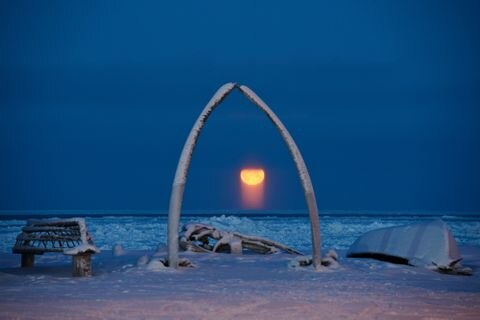 The full moon rises into view from Utqiagvik, the North Slope city that was known as Barrow until its name changed earlier this month, on Tuesday, December 13, 2016. Sometimes known as a moon pillar, the orange light pillar under the moon is the light (reflected from the sun, bounced off the surface of the moon) is again reflected and refracted through ice crystals in the earth's atmosphere, according to National Weather Service's David Snider. Because the ice crystals are flat, they channel the light vertically. (Marc Lester / Alaska Dispatch News)