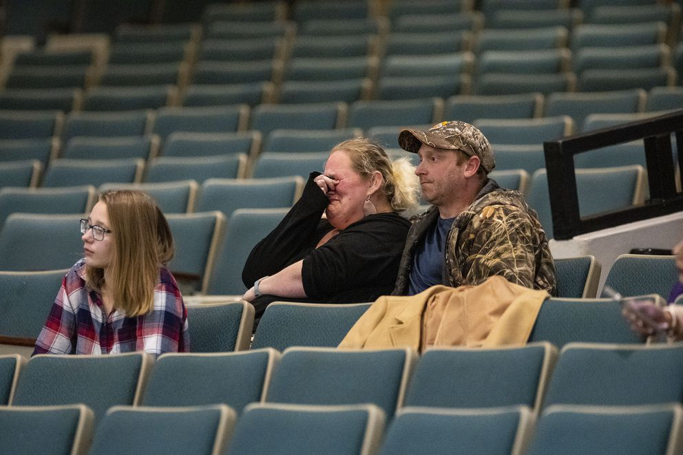 Debbie Emme cries after the Mitchell, S.D., city council approves the mask mandate by a 5-to-3 vote at the Mitchell Corn Palace. (Photo for The Washington Post by KC McGinnis)