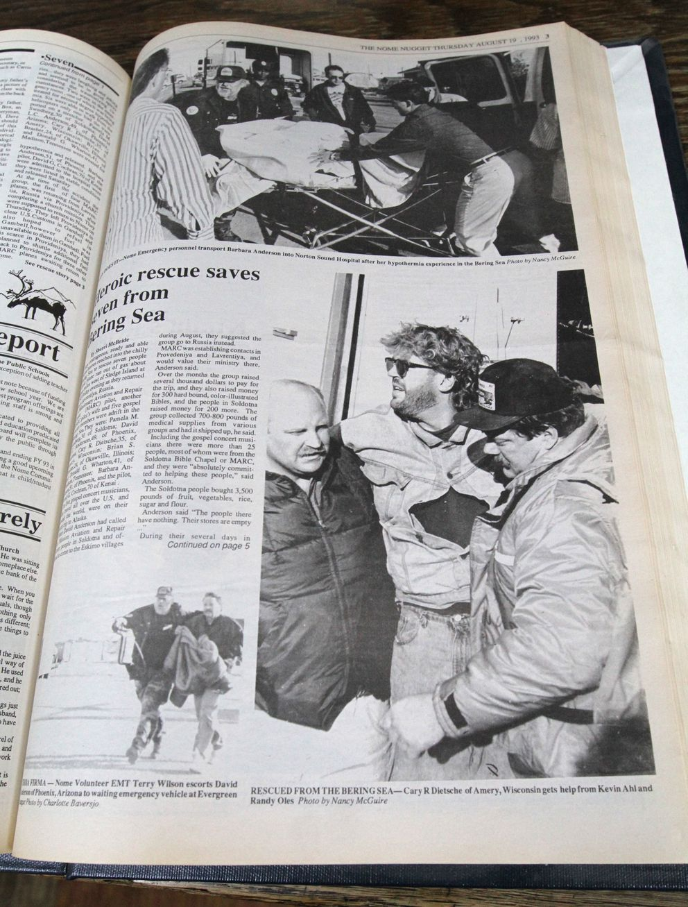 Coverage of the Aug. 13, 1993 Bering Sea rescue was printed in the Aug. 19, 1993 edition of the Nome Nugget. (Courtesy of the Nome Nugget)