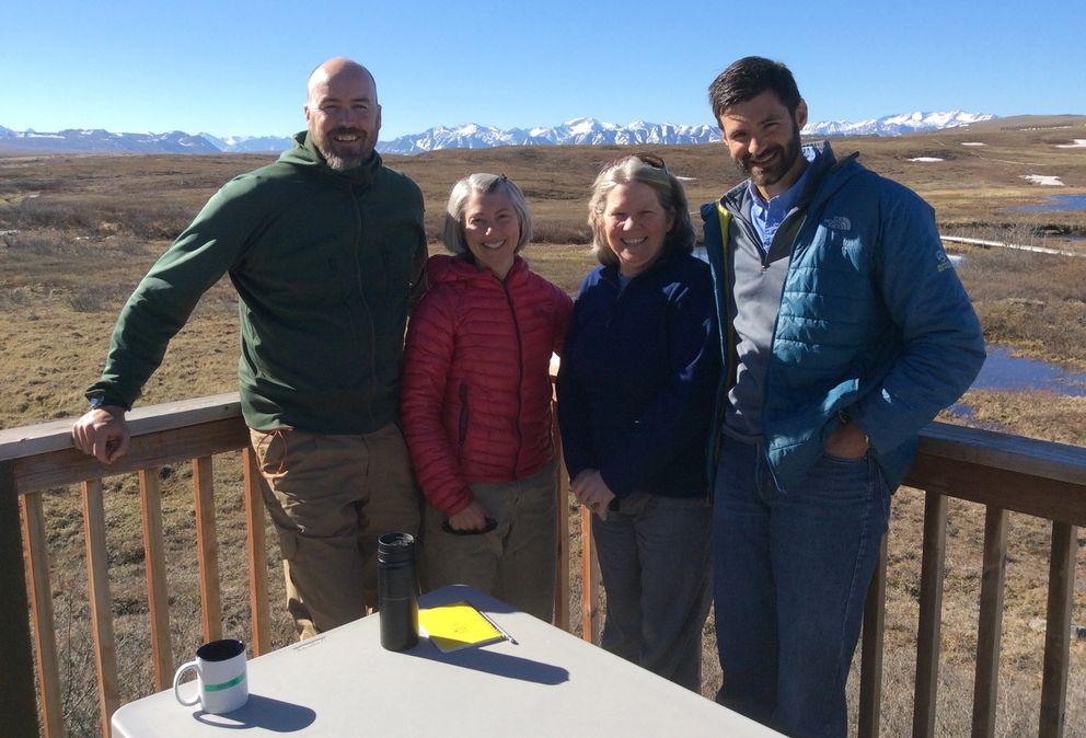 Cam MacKenzie, left, Heidi Golden, Linda Deegan and Mark Urban at Toolik Field Station (Courtesy Heidi Golden)