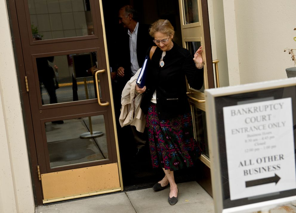 Alice Rogoff, owner of Alaska Dispatch News, exits the Old Federal Building after a hearing in bankruptcy court on September 7, 2017. (Marc Lester / Alaska Dispatch News)