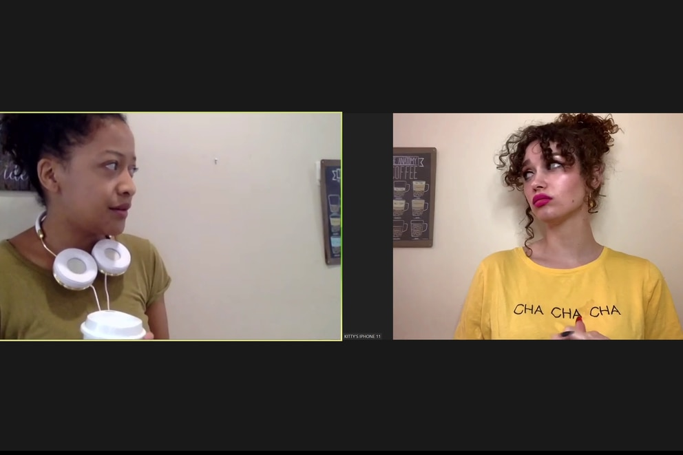 American Conservatory Theater MFA students Cassandra Hunter (left) and Evangeline Edwards perform remotely in