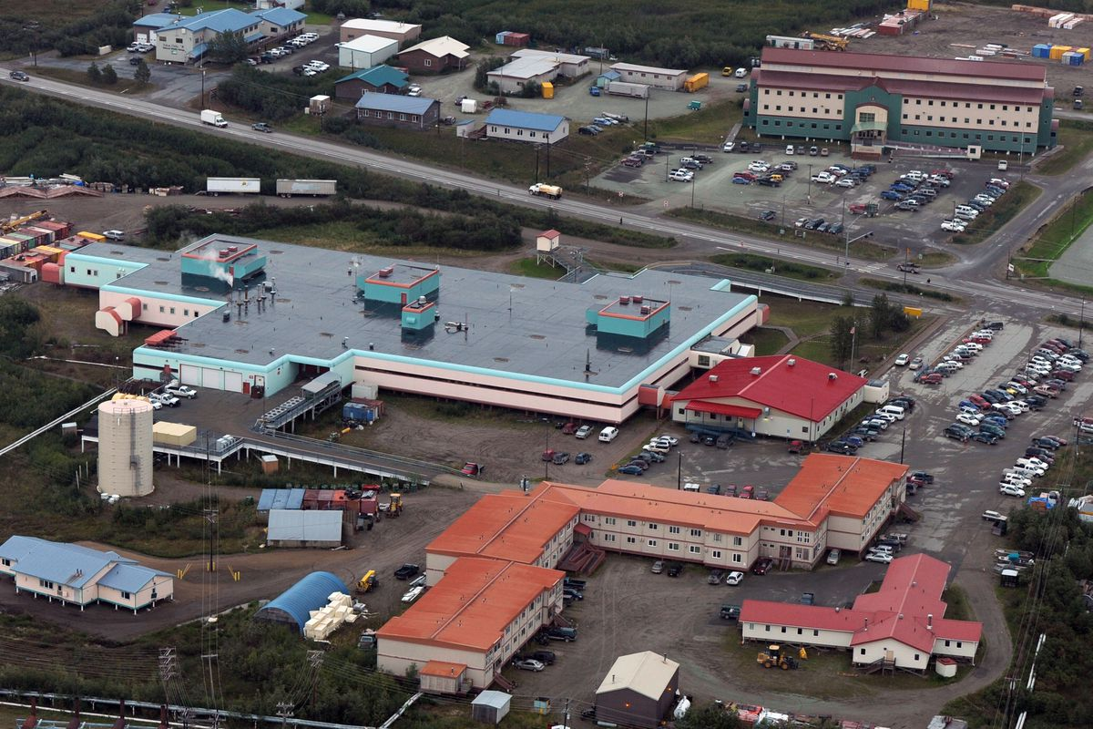The Yukon-Kuskokwim Delta Regional Hospital, center, and the Community Health Services Building, top right, are seen from the air on Thursday, August 28, 2014, in Bethel. (ERIK HILL / ADN)