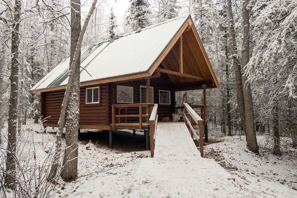 Dolly Varden Cabin along Eklutna Lake is one of the newest offerings in the Alaska State Park system. November 2017 (Photo by Erik Helland)