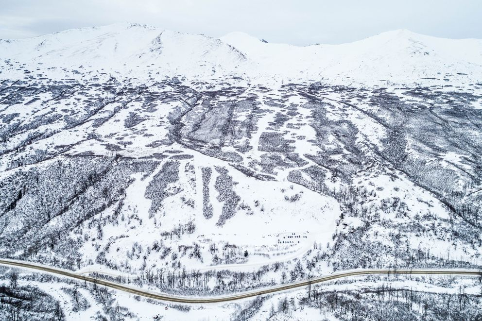 Skeetawk, an alpine ski area being developed in Hatcher Pass, in February 2018. (Loren Holmes / ADN)