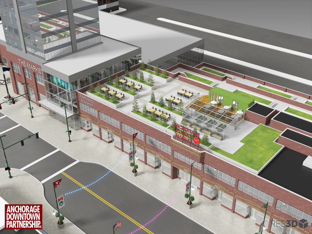 Rooftop seating with trees is another piece of the renovation idea for the building.(Artist rendering by Resolution 3D / Anchorage Downtown Partnership)