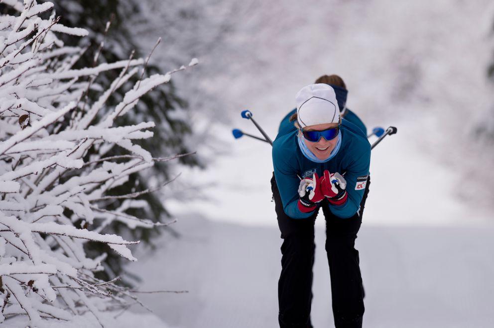 Sadie Maubet Bjornsen tucks on a downhill during an APU training session. (Marc Lester / ADN)