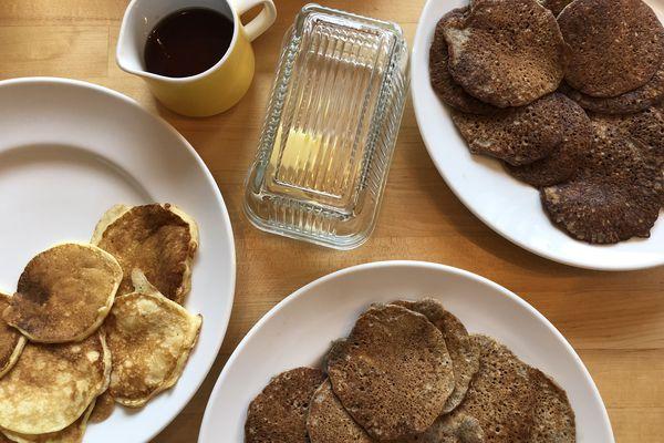 Right to left, white flour, teff flour, buckwheat sourdough pancakes.(ADN/Julia O'Malley)