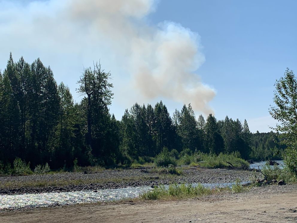 The Montana Creek fire burns south of the Talkeetna junction near Montana Creek Road on Thursday, July 4, 2019. Photographed from South Kalispell Drive, just east of the Upper Susitna Senior Center. (Jeff Parrott / ADN)