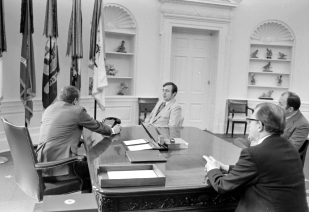 President Richard M. Nixon, left, talks with Rep. Don Young on March 15, 1973 in the Oval Office, the day after Young was sworn in. At right is Jack Coghill, a longtime Republican party leader from Alaska who directed Young's campaign for Congress. Nixon aide Richard K. Cook, deputy assistant for Congressional relations, is seated across from Nixon. (Nixon Library / White House photo)