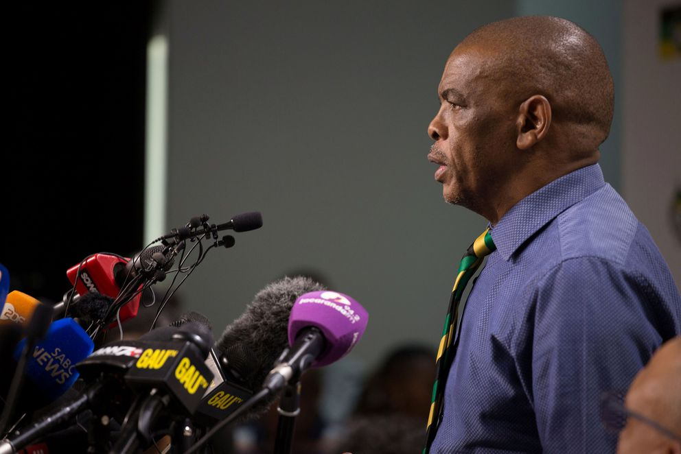 African National Congress Secretary-General Ace Magashule and members of the ANC National Executive Committee address a media conference in Johannesburg, South Africa. REUTERS/James Oatway