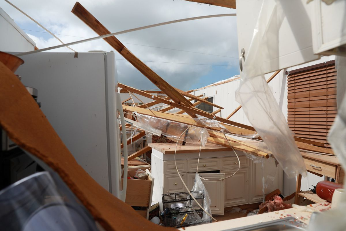 Property Damage Is Seen At A Mobile Home Park After Hurricane Irma In Naples Florida