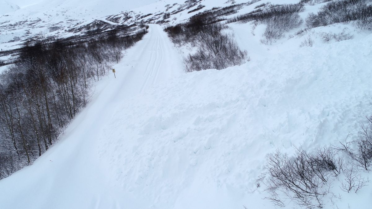 An avalanche closed the road to Hatcher Pass between the Gold Mint trailhead and Archangel Road, Mile 15.1, on Monday. (Photo provided by AK DOT)