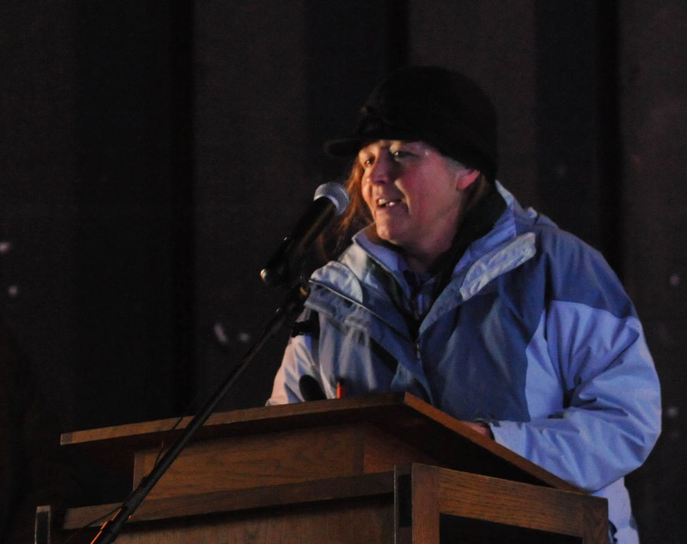 Edie Grunwald speaks at a candlelight vigil for her son David Grunwald at the Borealis Theater at the Alaska State Fair grounds in Palmer on Friday. (Bob Hallinen / Alaska Dispatch News)