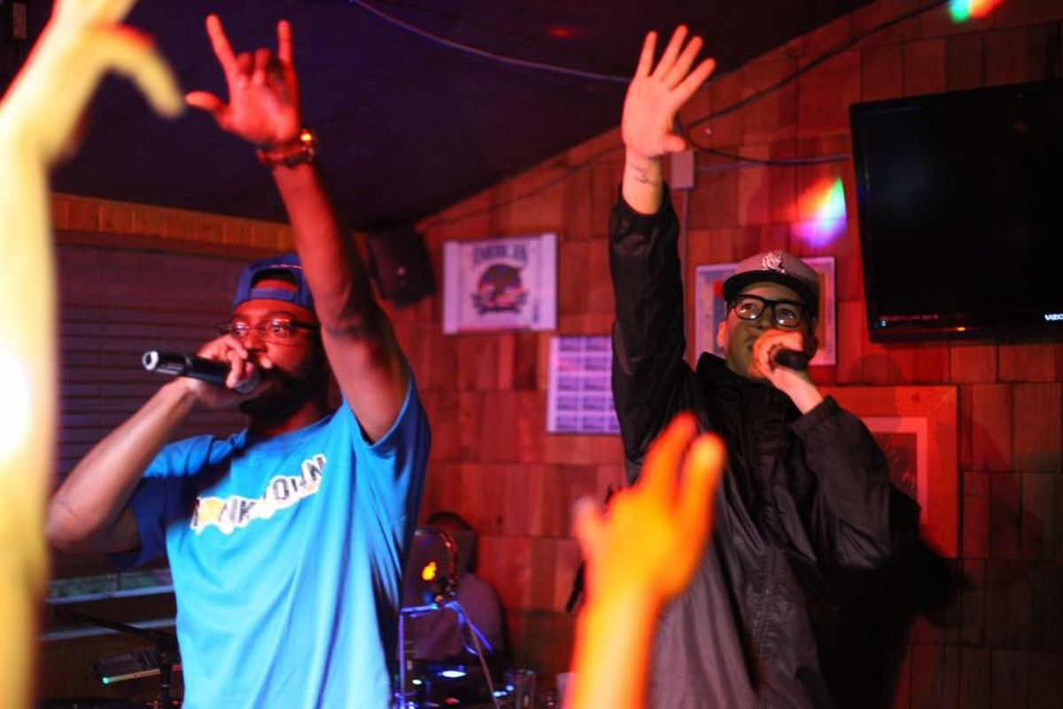 Fairbanks rappers Starbuks and Bishop Slice perform. They were nominated for awards in several categories at the 2017 AK Hip Hop and R&B Awards. (Photo by Brent Rodenberger)