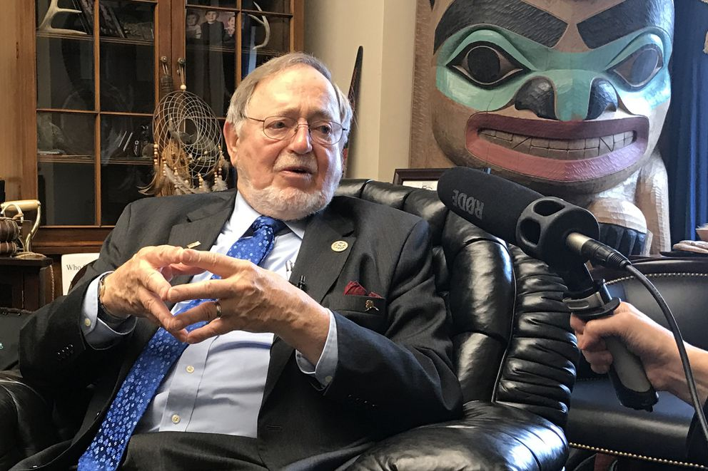 Rep. Don Young speaks to reporters in his Washington, D.C., office after the American Health Care Act was pulled from consideration on the House floor March 24. (Erica Martinson / Alaska Dispatch News)